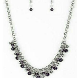 Purple beaded necklace w/earrings